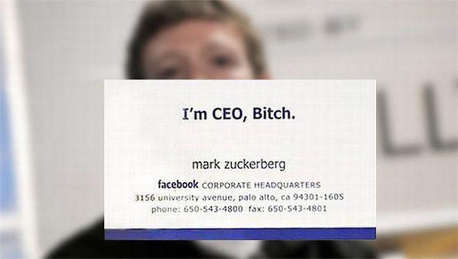 Zuckerberg Carte de vizita